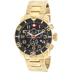 Swiss Precimax Men's Verto Pro SP13042 Gold Stainless-Steel Swiss Chronograph Watch with Black Dial