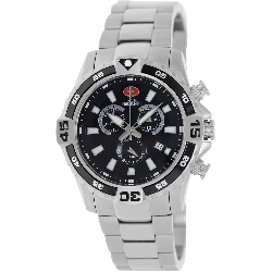 Swiss Precimax Men's Falcon Pro SP13106 Silver Stainless-Steel Swiss Chronograph Watch with Black Dial