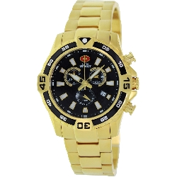 Swiss Precimax Men's Falcon Pro SP13109 Gold Stainless-Steel Swiss Chronograph Watch with Black Dial