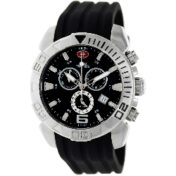 Swiss Precimax Men's Recon Pro Sport SP13114 Black Polyurethane Swiss Chronograph Watch with Black Dial