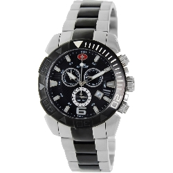 Swiss Precimax Men's Recon Pro SP13119 Two-Tone Stainless-Steel Swiss Chronograph Watch with Black Dial