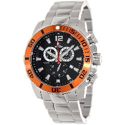 Swiss Precimax Men's Crew Pro SP13250 Silver Stainless-Steel Swiss Chronograph Watch with Black Dial