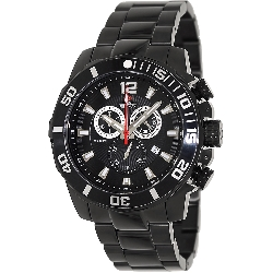 Swiss Precimax Men's Crew Pro SP13252 Black Stainless-Steel Swiss Chronograph Watch with Black Dial