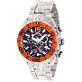 Swiss Precimax Men's Deep Blue Pro II SP12175 Silver Stainless-Steel Swiss Chronograph Watch With Orange Dial